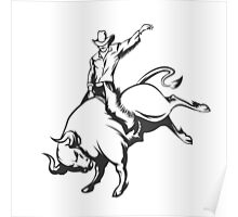 Rodeo cowboy riding a wild bull Poster