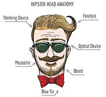 Humorous Hipster head structure. Free font used.  by devaleta