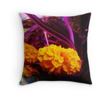 Marigolds in Purple Throw Pillow