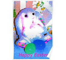 Fluffy blue Easter Bunny Poster