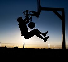 Sunset Basketball Dunk by jmsandjono
