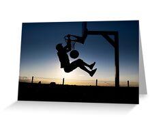 Sunset Basketball Dunk Greeting Card