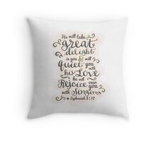 Pretty modern light white, pink design, scripture bible verse Zephaniah 3:17 'he will delight in you, he will quiet you with his love. He will rejoice over you with singing'.  Throw Pillow