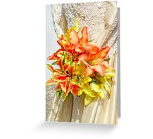 The bride had a lily bouquet Greeting Card