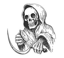 Death with sickle and pocket watch.   Photographic Print