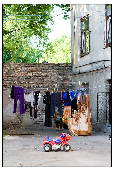 The Bike and the Washing Line, Mīgravis, Latvia by Madeleine Marx-Bentley