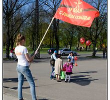 Banner Girl, May 9 (Victory Day), 2011. Rīga, Latvia. (2011) by Madeleine Marx-Bentley