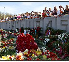 Flowers at the Monument, May 9 (Victory Day) 2011, Rīga, Latvia.  (2011) by Madeleine Marx-Bentley
