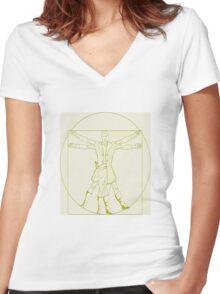 Vitruvian Mal Women's Fitted V-Neck T-Shirt