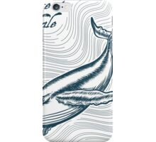 Great Whale in deep water. Engraving style. Only free font used. iPhone Case/Skin