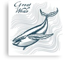 Great Whale in deep water. Engraving style. Only free font used. Canvas Print