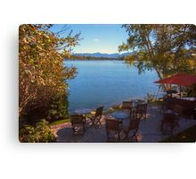 Patio on the Water Front - Mirror Lake Canvas Print