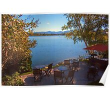 Patio on the Water Front - Mirror Lake Poster