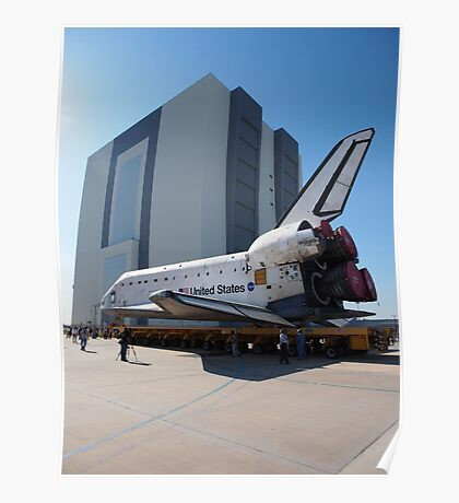 Atlantis arriving at the VAB Poster