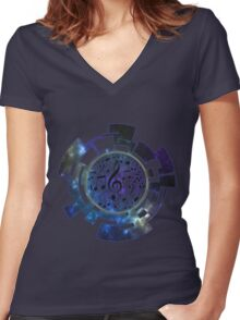Music Planet Women's Fitted V-Neck T-Shirt