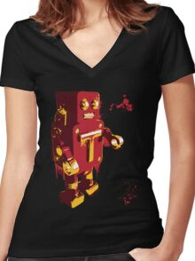 Red Tin Robot Splattery Shirt or iPhone Case Women's Fitted V-Neck T-Shirt