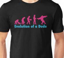 Evolution of a dude pink Unisex T-Shirt