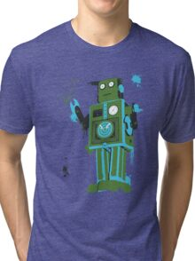 Green Tin Robot Splattery Shirt or iPhone Case Tri-blend T-Shirt