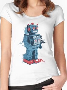 Blue Toy Robot Splattery Shirt Women's Fitted Scoop T-Shirt