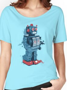 Blue Toy Robot Splattery Shirt Women's Relaxed Fit T-Shirt