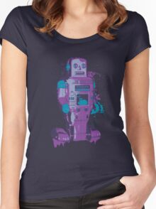 Purple Toy Robot Splattery Shirt or iPhone Case Women's Fitted Scoop T-Shirt