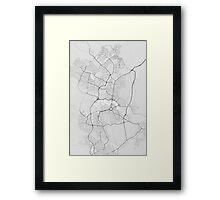 Canberra-Queanbeyan, Australia Map. (Black on white) Framed Print
