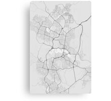 Canberra-Queanbeyan, Australia Map. (Black on white) Canvas Print