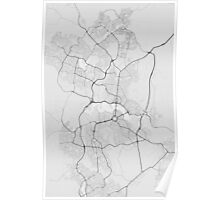 Canberra-Queanbeyan, Australia Map. (Black on white) Poster