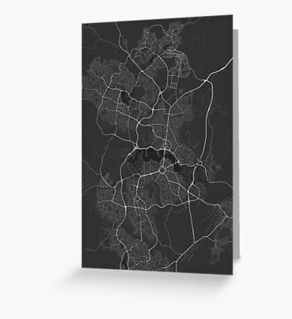 Canberra-Queanbeyan, Australia Map. (White on black) Greeting Card