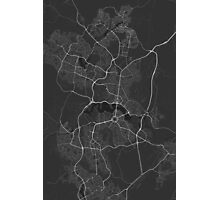 Canberra-Queanbeyan, Australia Map. (White on black) Photographic Print