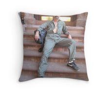Jump suit hunk Throw Pillow