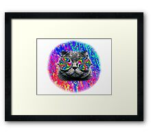 Psychedelic Trippy Cat Framed Print