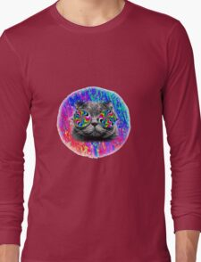 Psychedelic Trippy Cat Long Sleeve T-Shirt