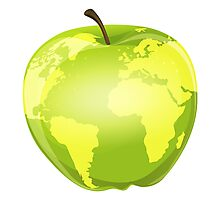 apple with geographic contours Photographic Print