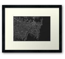 Sydney, Australia Map. (White on black) Framed Print