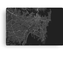 Sydney, Australia Map. (White on black) Canvas Print