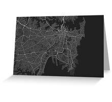 Sydney, Australia Map. (White on black) Greeting Card