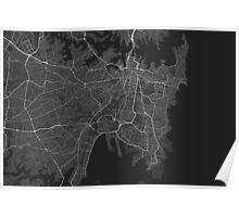 Sydney, Australia Map. (White on black) Poster