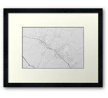 Maitland, Australia Map. (Black on white) Framed Print