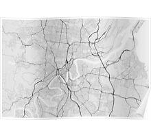 Brisbane, Australia Map. (Black on white) Poster