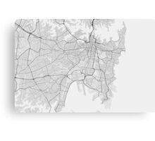 Sydney, Australia Map. (Black on white) Canvas Print