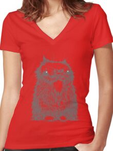 Grey Creepycat Women's Fitted V-Neck T-Shirt