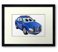 Police Blue Car Cartoon Framed Print