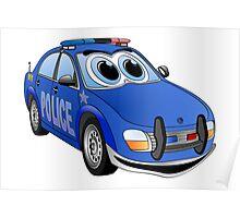 Police Blue Car Cartoon Poster