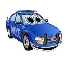 Police Blue Car Cartoon Photographic Print