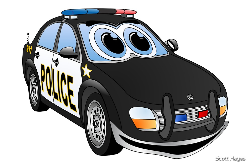 """""""Police Black Whote Car Cartoon"""" by Graphxpro"""
