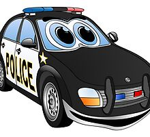 Police Black Whote Car Cartoon by Graphxpro