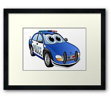 Police Blue White Car Cartoon Framed Print