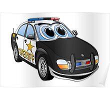Sheriff BWT Car Cartoon Poster