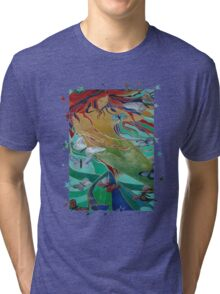 Mermaid and Butterflies  Tri-blend T-Shirt